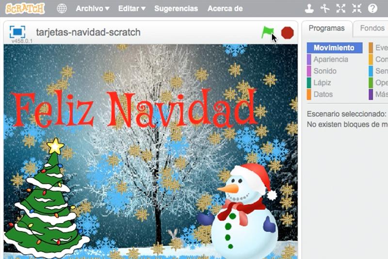Tarjetas de Navidad en familia (II): animando con #Scratch